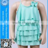 Green many layers one piece cute young girl bikini kids swimwear