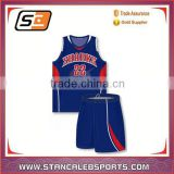 Stan Caleb 2016 Custom dye sublimated camo blue reversible basketball jerseys with Logo design