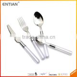 stainless steel cutlery set with white handle, plastic knife fork and spoon, spoons forks knives stainless steel cutlery