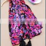 Fashion Skull Print Scarf 150g Colorful Printed Scarf