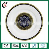 Wholesale antique ceramic decorative plate, gold rimmed dinner plates