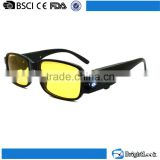 Yellow lens led light motorcycle riding glasses,night vision driving glasses with led light