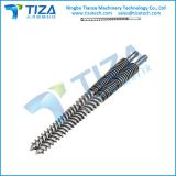 Parallel twin screws and barrel for plastic making machine