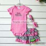 infant baby girls pink rompers+zebra skirts+hairband 3pcs clothing sets baby outfits kid suits