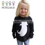 Black Clothes White Ghost Long Sleeves Shirt Kids Halloween Costumes For Kids