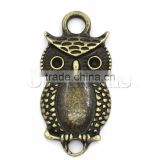 Handmade Connectors Findings Owl Animal Halloween Ornaments Antique Bronze Cabochon Setting 26x12.5mm,20PCs