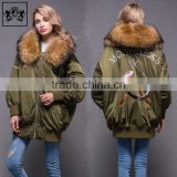 Newest Fashionable Ladys Army Green Down Feather 100% Polyester Womens Bomber Jacket