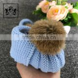 Hand Knitted Pom Fur Ball Boot Shoes For Baby Girl Crocheted Booties Socks With Shoe Print
