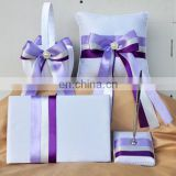 Beads decoration Romantic Light purple guest book /pen holder/ring pillow/flower basket set wedding dropship supplier