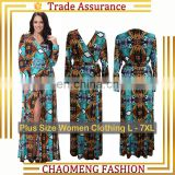 7012# Elegant Front Open Deep V Neck Women Sexy Beach Wrap Floral Long Sleeve Maxi Dress Plus Size Women Clothing