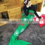 Wholesale acrylic knitted cotton mermaid tail blanket adults and kids mermaid blanket