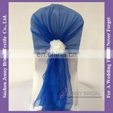 C192D organza chair sash rose flower decoration pre tied chair sashes wedding
