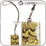 Wholesale Bright Yellow Color Python Snake Skin Leather Purse Wallet Credit Card Holder with strap