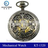 Vintage pocket watch japan movt mechanical pocket watch black metal suite gold analog digital movt