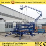High quality trailer mounted articulated boom lift hydraulic towable cherry picker QYZB-14