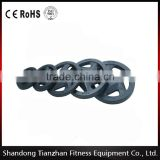 5 Holes Black Rubber Coated Olympic Weight Plate Fitness Gym Equipment Free Weight Plate                                                                         Quality Choice