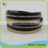 New Products Men's Genuine Leather Bracelet Bangle with Bronze Alloy Buckle