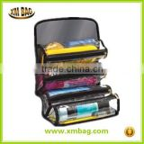 Waterproof Travel Toiletry Bag Foldable Hanging Cosmetics roll Organizer Cosmetic Bag Roll Up Bathroom Organizer Black