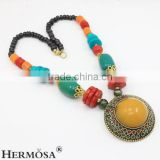 Hermosa Jewelry TOP FASHION Natural Coral Yellow Jade Tibetan Bohemian Style Pendant Bead Necklace Jewelry
