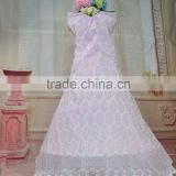 Elegant African beautiful big lace polish big lace wedding dress for evening dress with breads