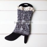 Snowflake Colors Knitted Leg Warmers,Lace Boot Socks, Leg Warmers,Vintage Knitted Boot Cuffs, Image