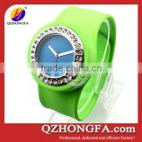 bling crystal silicone slap band watch