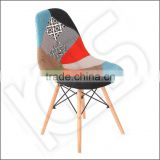 Stylish comfortable patchwork leisure chair, fabric, wooden leg leisure chair