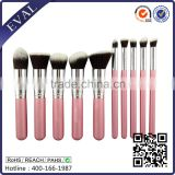 Professional 10pcs Premium Synthetic Kabuki Makeup Brush Set Foundation Blending Cosmetic Brushes Essential Kit