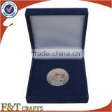 Exquisite zinc alloy silver plated souvenir velvet coin box with custom logo                                                                         Quality Choice