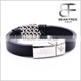 Hot sale High Quality Mens Womens Stainless Steel Black Leather Bracelet Free Laser Engraving