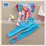 2 colors (TS3916) Neat 2-6Y manufacturer China cheap baby clothing set summer girls suits for kids