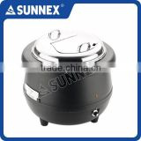 SUNNEX Hot Sale Classic Black Polypropylene Body Aluminum Water Jacket Buffet Service 10Ltr. Electric Soup Kettle