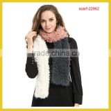 2015 Winter Knitt Mink Fur Scarf Women Warm Mink Fur Scarf One Full Piece Shawl Natural Color Black Brown