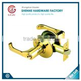 North American zinc alloy or aluminum outdoor gate lever locks handles with golden color