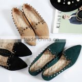 New summer fashion woman flat shoes woman rivet pointed shoes colored ballet shoes.