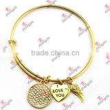 Real Gold Angel wings/Crystal Charms Bracelet, Copper Wire Bangles Wholesale