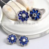 2016 Rhodium Flower shape blue spinel stone fashion jewelry