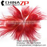 ZPDECOR Factory Bulk Sale Cheap Selling Dyed Red Trimmed Short Peacock Feathers for DIY