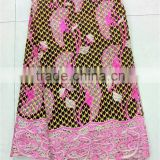 Elegant style guipure cord lace with ankara fabric real wax printed wholesale wax with guipure NNL-013