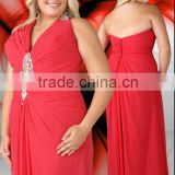 Sexy deep V-neckline beaded ruched red floor length plus size evening dress CWFap4717