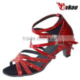 top-quality latin ballroom dance shoes for little girl pu with shiny material wholesale