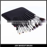 15 PCS Black Handle Silver Tube Top Grade Cosmetic Brush With Double Layer Cosmetic Bag Makeup Brush Set
