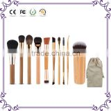 Wholesale super star style 10pcs Bamboo handle makeup brushes cosmetics kabuki makeup brush set