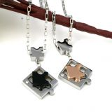 316L Stainless Steel Fashion Jewelry Chain Lovers Puzzle Pendant Necklace