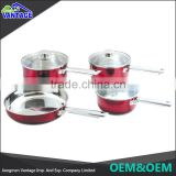 Wholesale fry pan saucepan saucepan stainless steel kitchen cookware with Clear Glass Lid
