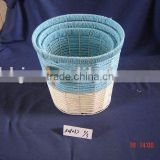 Round blue and light yellow paper rope woven iron frame wastebin baskets