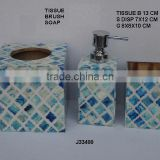 Blue Bone Mosaic Bathroom Set on steel and wood Moroccan style