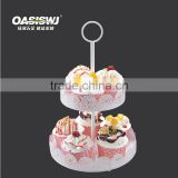 2 layer cake plate with metal stand handle fitting for tea coffee cupcake for wedding party wholesaler