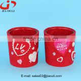 New design with non woven fabric cover glass nursery pot glass cup planter