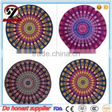 2017 new product hot selling round beach towels mandala with tassels bohemian round microfiber towel